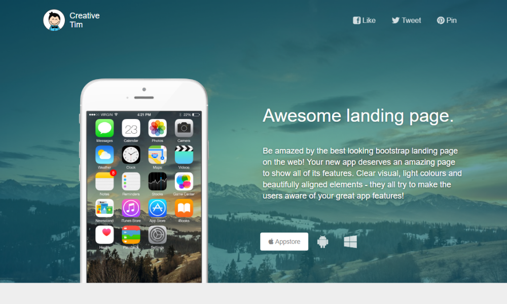 Awesome landing page free bootstrap theme awesome landing page bootstrap theme maxwellsz