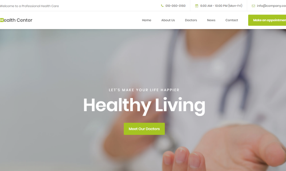 Free Bootstrap Theme - Health Center