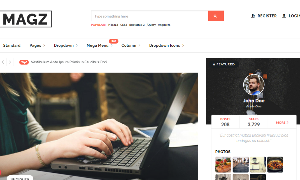 Magz Master Free Bootstrap Theme