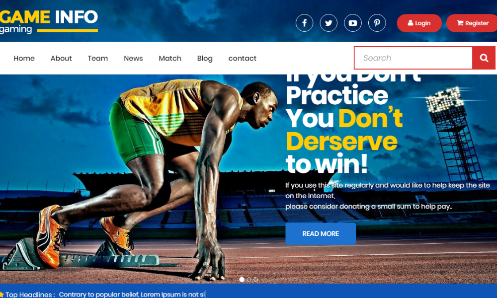 Sports Master Free Bootstrap Theme